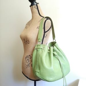 Cole Haan Lime Green Leather Bucket Bag
